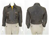 Womens Diesel Vintage Cow Leather Jacket Biker Full Zip Brown Grey Size M