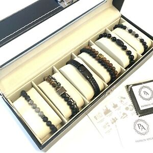 Men BRACELET Beads GOLD SILVER GLASS BLACK STONE in box.