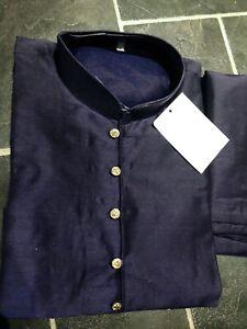 """Pakistani/Asian Suit Shalwar Kameez Mens Party Cotton Blend Navy Blue 40"""" Large"""