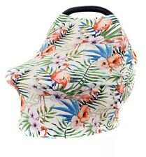5-in-1 Stretchy Premium Quality Baby Car Seat Cover, Canopy, (Pink Flamingo)