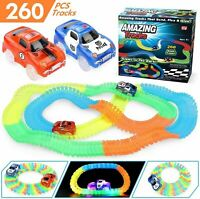 AMAZING MAGIC TRACK SET GLOW IN THE DARK LED LIGHT UP RACE CAR BEND RACETRACK