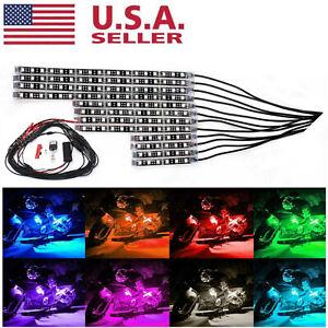 12Pcs Motorcycle RGB 120LED Waterproof Under Glow Lights Strip Neon Kit + Remote
