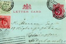 1906 Sg 218/9 on Letter Card to Finland Machine cancel, hand cancels & receiving