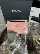 CHANEL Pink Card Holder Calf Neo Classic Beige Mini O-Case Gold 2019 NEW 19P NWT
