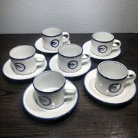 Vintage Dansk Flora Juniper Set Of 6 Short Cups & Saucers Japan White Blue 8 oz