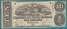 Confederate Currency - $10.00 - April 6, 1863 -1st Series - T #59 - Cr #429