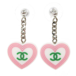 CHANEL CC Logos Heart Motif Shaking Piercing White Plastic Accessories 02963