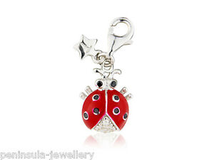 Tingle Sterling Silver Charm Clip on Ladybird with Gift Box and Bag SCH187