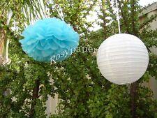 8x blue paper pom poms white lanterns wedding party baby shower venue decoration