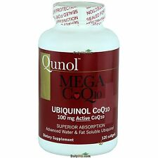 Qunol Mega CoQ10 100 mg Ubiquinol 120 Softgels, Heart Healthy, FRESH