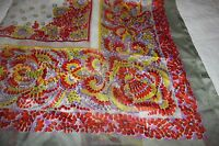 Vintage yellow Red Paisley Polyester scarf