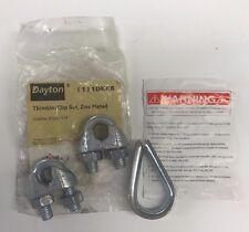 "New Dayton 1/4"" Thimble & Clip Set, Zinc Plated, 1DKK6, Free Shipping"