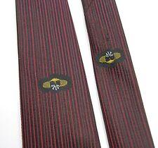 SKINNY BLACK & RED VERTICAL STRIPE Neck Tie Thin Design Necktie Vintage Dacron