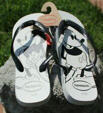 Mickey Mouse Havaianas Flip Flops sandals Size 8, 9/10 Disney men black white Nw