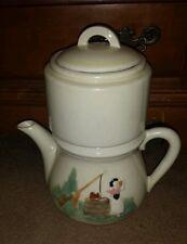 Vintage Porcelier Vitrecus Hand Decorated 4 Piece Coffee Tea Perculator Pot USA