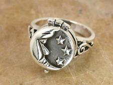 STUNNING STERLING SILVER MOON n STAR POISON RING size 6  style# r0737