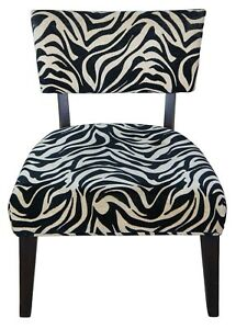Zebra Print Modern Chair Vanity Accent Occasional Seat Makeup