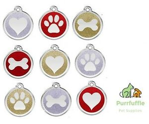 RED DINGO ENGRAVED DOG / CAT IDENTITY GLITTER TAGS CHRISTMAS Personalised ID