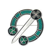 New Celtic Lands Silver Tone Green Enamel Shamrock Tara Brooch in Gift Box