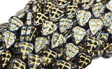 25 HEMATITE W GOLD INLAY CZECH GLASS LEAF BEADS 10MM