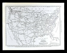 1938 Rand McNally Map United States Railroad Distances Stations New York Chicago