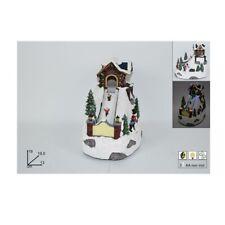 Villaggio di Babbo Natale decorazioni sciatore montagna neve luci addobbi cm19,5