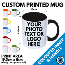 Custom Printed Colour Handle & Inner Mug • Print Cup Gift Image Text Photo Mugs