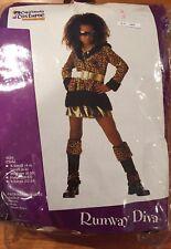 NWT RUNWAY DIVA California Costume Girl Halloween size S(6-8) 4 pc Leopard Print
