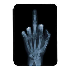 X Ray Middle Finger Funny Skeleton iPad Mini 1 2 3 PU Leather Flip Case Cover