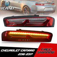 VLAND Red Clear Tail Lights Sequential Turn Signal for 16-18 Chevrolet Camaro