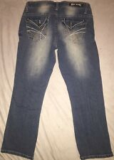 RED RIVET Capris - Flap Pocket Heavy White Stitching, Distressed Jeans SIZE 1