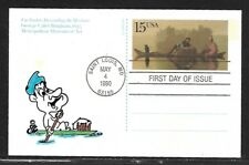 USA 1990 HAND PAINTED FUR TRADRS MISSOURI RICHARD ELLIS ANIMATED FIRST DAY COVER