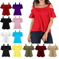 Womens Ladies Cold Cut Off Shoulder Wide Strappy Bardot Peplum Sleeve Swing Top