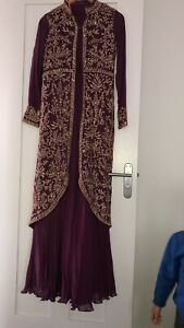 Asian Pakistani Indian Wedding Dress Gown Embroidered Size 8/10