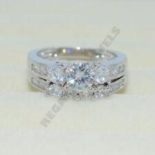 2pcs bridal ring set 14k white gold over 2ct vvs1 diamond engagement three stone