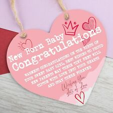 New Born Baby Gifts Congratulations Hanging Sign Plaque Metal Heart