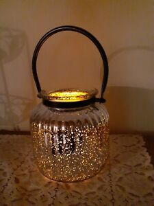 LARGE SILVER FLUTED MERCURY GLASS CANDLE HOLDER WITH HANDLE *Beautiful*