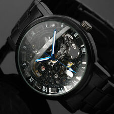 Black Men Skeleton Stainless Steel Steampunk Automatic Mechanical Wrist Watch
