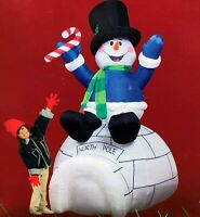 SNOWMAN ON IGLOO GEMMY 8FT AIRBLOWN INFLATABLE NEW IN BOX