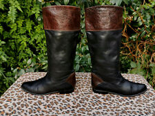 Vintage Black leather knee high riding style boots UK size 7.5 EU 42