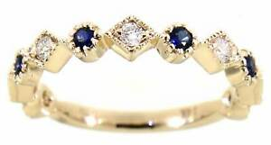 0.27 Carat Blue Sapphire Gemstone 14K Yellow Gold Real Diamond Fancy Fine Band
