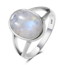 Boho 925 Silver Natural Rainbow Moonstone Simple Design Wedding Jewelry Ring !!