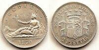 Spain-Gobierno provisional. 2 pesetas 1870*18-70. Madrid. MBC+/VF+. Plata 10 g.