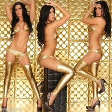 3 Pc Shiny Golden Lycra Bikini Set Babydoll Sexy Costume Lingerie Bra Honeymoon