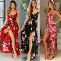 Low Bosom Women's Long Floral Print Boho Sleeveless Maxi Dress Sundress Summer