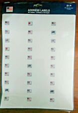 60 ADDRESS RETURN LABELS w/ FLAGS: HALLMARK design USPS; INKJET & LASER Friendly