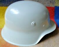 FIELD GREY GERMAN MILITARY HELMET WITH WEBBING CHINSTRAP SIZE 9 REPRODUCTION