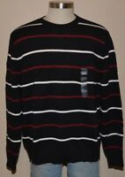 ST. JOHN'S BAY Black Red Cotton Striped Pullover Crewneck Sweater Men's XXL NWT