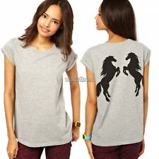 Women Horse Print in Back Casual Short Sleeve Loose Tops T-shirt Blouse WST Asian M (us S(4) UK 6 AU 8)