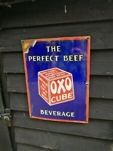 OXO Enamel Sign oxo sign oxo porcelain sign oxo cube the perfect beef beverage